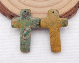 D1539 - 13cts Unisex cross earrings pair, stone earrings religious gift who