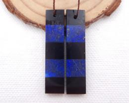 i054 - 28cts Natural Lapis Lazuli,Obsidian Intarsia Pendant Bead