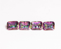 5.90 Cts 4 Pcs Rare Fancy Rainbow Colors Natural Mystic Topaz
