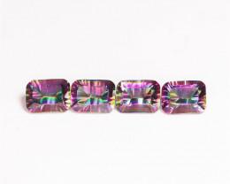 5.90 Cts 4 Pcs Rare Fancy Rainbow Colors Natural Mystic Topaz