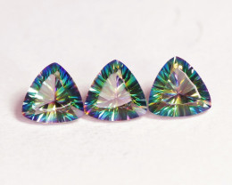 4.85 Cts 3 Pcs Rare Fancy Rainbow Colors Natural Mystic Topaz