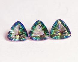 4.85 Cts 3 Pcs Rare Fancy Rainbow Colors Natural Mystic Topaz