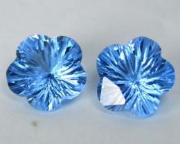 7.80Cts Sparkling Natural Swiss Blue Topaz Flower Carving Pair Loose Gems V
