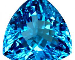 17.28Cts Sparkling Natural Swiss Blue Topaz Trillion Cut Loose Gemstone  VI