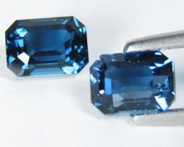 3.64Cts Stunning Natural London Blue Topaz Emerald Cut Matching Pair VIDEO