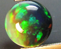 3.02Cts Natural Earth Mined Color Play Black Opal Round  Cabochon Gem REF V