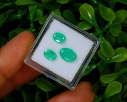 Emerald 2.14Ct 3Pcs Oval Cut Natural Zambian Green Emerald B1235