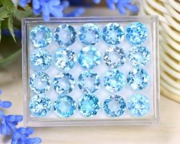 Blue Topaz 44.66Ct VS Round Cut Natural Sky Blue Topaz Lot Box A1304