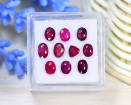 Ruby 4.11Ct 10Pcs Natural Mozambique Red Ruby Box A1322