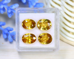 Zircon 12.77Ct 4Pcs Oval Cut Natural Yellow Color Zircon Box A1324