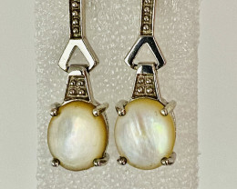 ABALONE EARRINGS- , SILVER    UNUSED - COLLECTION!