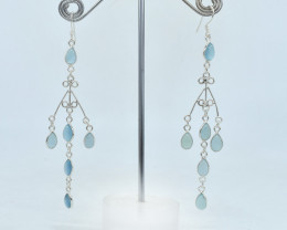 CHALCEDONY EARRINGS 925 STERLING SILVER NATURAL GEMSTONE AE1065