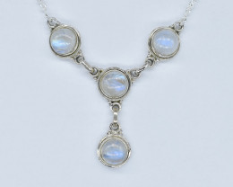 RAINBOW MOONSTONE NECKLACE NATURAL GEM 925 STERLING SILVER AN22