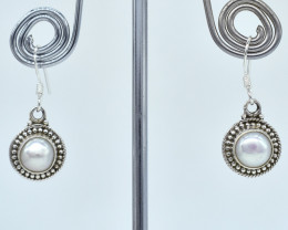 PEARL EARRINGS 925 STERLING SILVER NATURAL GEMSTONE AE1067