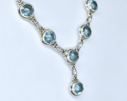 BLUE TOPAZ NECKLACE NATURAL GEM 925 STERLING SILVER AN23