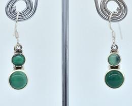 GREEN ONYX EARRINGS 925 STERLING SILVER NATURAL GEMSTONE AE1068