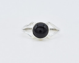 BLACK ONYX RING 925 STERLING SILVER NATURAL GEMSTONE AR1536