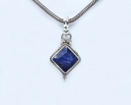 BLUE SAPPHIRE PENDANT 925 STERLING SILVER NATURAL GEMSTONE AP1627