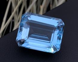 Top Grade 32.80 ct Emerald Cut Blue Topaz Ring Size