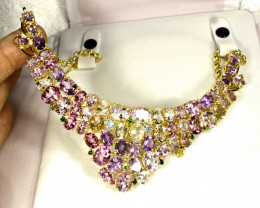434.5 Tcw. Mystic Topaz, Amethyst, Chrome Diopside Silver Gold Plated Neckl