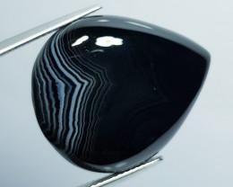 27.92 ct Natural Black Lace Agate Pear Cabochon  Gemstone