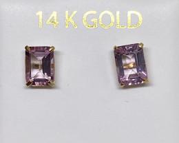 (4) Stunning Natural 7mmx5 each Natural 2.20cts  Pink Sapphires  studs