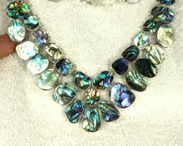412.0 Tcw. Abalone Sterling Silver Necklace - Superb