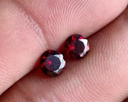 5x5 mm Round Garnet Gemstone Pair 100% NATURAL AND UNTREATED VA82