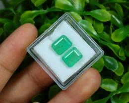 Emerald 4.75Ct 2Pcs Octagon Cut Natural Zambian Green Emerald B1427