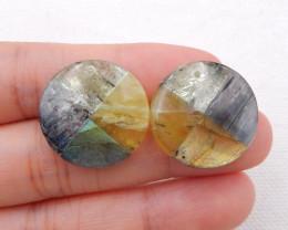 i061 - 39cts New Arrival Intarsia Blue Kyanite,Yellow Quartz,Yellow Opal,La