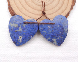 D1567 - 49cts High quality Lapis Lazuli natural heart-shaped earrings beads