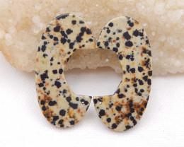 D1568 - 56.5cts dalmatian jasper earrings pair, natural gemstones earrings