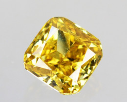 Fantastic!! 0.11 Cts Natural Untreated Diamond Fancy Yellow Cushion Cut Af