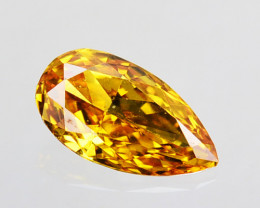 0.09 Cts Natural Untreated Diamond Fancy Yellow Pear Cut Africa
