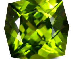 2.15Cts Genuine Excellent Natural Peridot 7.7mm Cushion Custom Cut  REF VID