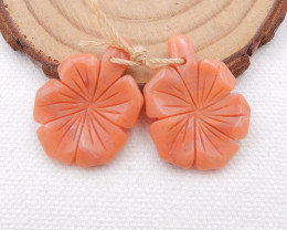 D1577 - 27.5cts Carved flower red aventurine earrings pair,healing stone