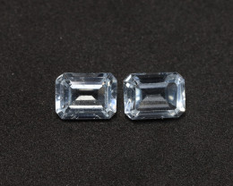 3.75tcw Natural Aquamarine/Goshenite Earring set