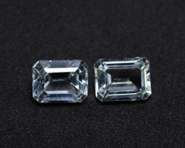 6.16tcw Natural Aquamarine/Goshenite Earring set