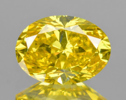 *NoReserve*Diamond 0.58 Cts Sparkling Fancy Vivid Yellow Color