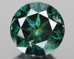 *No Reserve* Diamond 0.90 Cts Sparkling Rare Fancy Green Color Natural