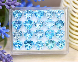 Blue Topaz 42.33Ct VS Trillion Cut Natural Sky Blue Topaz Lot Box C1518