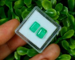 Emerald 3.00Ct 2Pcs Octagon Cut Natural Zambian Green Emerald C1537