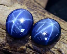 Star Sapphire 9.99Ct 2Pcs 6 Rays Burmese Blue Star Sapphire C1316