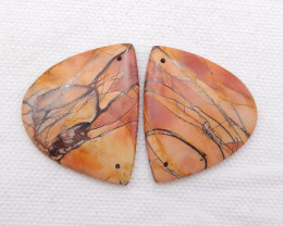 D1611 - 46cts Natural Multi Color Picasso Jasper Earrings Pair,Natural Gems
