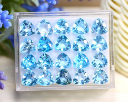 Blue Topaz 38.16Ct VS Trillion Cut Natural Sky Blue Topaz Lot Box A1735