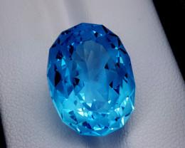 21.95CT BLUE TOPAZ PRECIOSION CUT BEST QUALITY GEMSTONE IIGC57