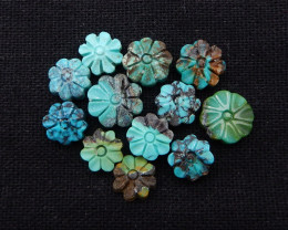 D1612 - 24cts Lucky Turquoise, Handmade Carved Flower Gemstone, Turquoise C