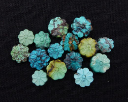 D1613 - 35cts Lucky Turquoise, Handmade Carved Flower Gemstone, Turquoise C