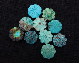 D1614 - 47.5cts Lucky Turquoise, Handmade Carved Flower Gemstone, Turquoise