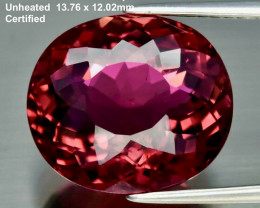 9.69ct Rubellite Tourmaline - Fine Cut / Certified /13.7 x 12.0mm